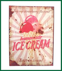 Retroschild ICE CREAM Wandschild Strawberry Schild