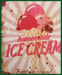 Retroschild ICE CREAM Wandschild Strawberry Schild – Bild 2