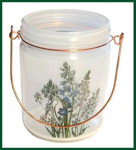 Großes Windlicht Glas GARTENBLUMEN Henkel kupfer – Bild 2