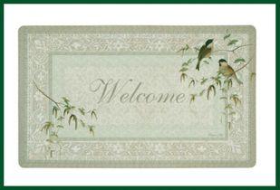 Fußmatte grün natur WELCOME Türvorleger Vögel – Bild 1