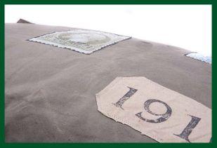 VINTAGE STAMP BENCH Hundekissen 100 x 70 cm UNIKAT – Bild 3