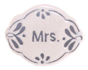 Möbelknauf Mrs. oval Keramik weiß schwarz Möbelknopf Frau – Bild 2