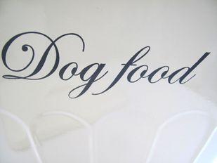 Futterdose Hund groß DOG FOOD Metall lackiert creme Landhausstil 27*26*20 cm – Bild 5