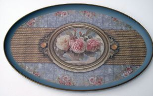 Tablett oval Vintage Rose Schmuckablage Deko Tablett 29*18*1 cm – Bild 1
