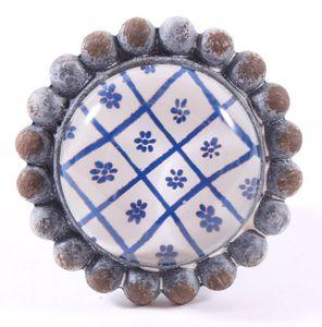 Möbelknauf  VINTAGE Möbelknopf Metall Glas grau blau türkis – Bild 6