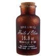 Apotheker Glas Flasche Huile d' Olive Bauernsilber braun mit Korkverschluss 0,55l 001