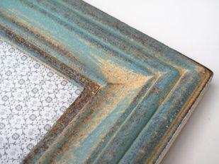 Bilderrahmen Holz türkis blau creme shabby Vintage für Fotos 7,5*11 cm – Bild 3