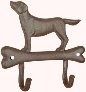 Haken Doppelhaken Gusseisen Leinenhalter Hund Knochen Labrador 18,5*17,5*3,5 cm – Bild 1