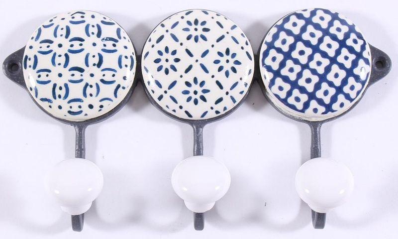 Hakenleiste 3er Handtuchhalter Metall Keramik Weiss Blau 16 9 3 5 Cm