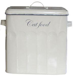 Futterbox Futterdose CAT FOOD Vorratsdose Metall creme lackiert 27*26*20 cm – Bild 1