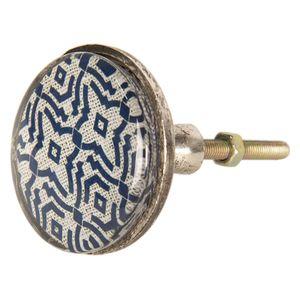 Großer Retro Möbelknauf Metall altsilber Glas Muster creme blau 5*8 cm – Bild 3