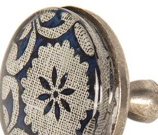 Großer Vintage Möbelgriff altsilber Glas Metall Ornament blau creme 5*8 cm – Bild 2