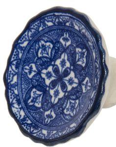 Großer Möbelknauf Griff Keramik Friesland blau 4,5*4,5 cm – Bild 2