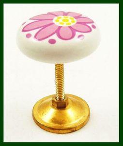Möbelknopf mit Blumenmotiv pink rot Porzellan – Bild 2
