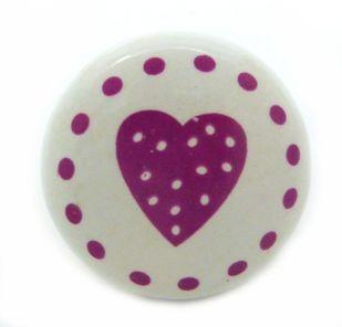 Romantischer Möbelknopf Herz rosa Porzellan – Bild 3
