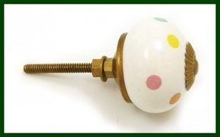 Großer Möbelknopf pastellfarben gepunktet Porzellan – Bild 2