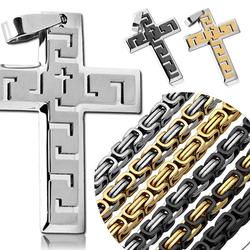 1 Set Königskette + Anhänger Kreuz Kruzifix Panzerkette Halskette Massiv Herrenschmuck Silbern Golden Schwarz