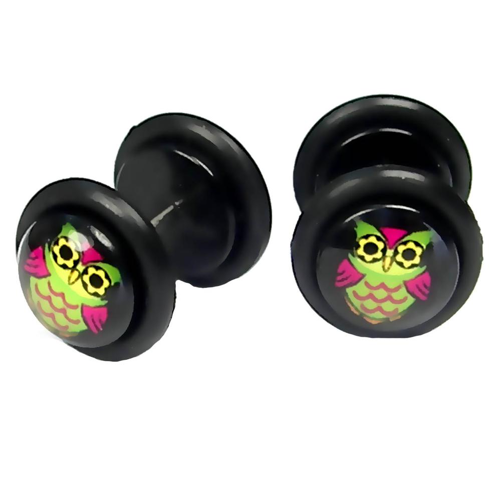 Cheater-Fakeplugs-Tunnel-Piercing-Earstuds-Colorful-Bird-Owl-10mm-Acrylic-Steel