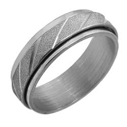 Ring Fingerring Damen 2teilig Drehbar Silbern Edelstahl 17 18 19 20 21 22 mm Doppelring Glänzend Geschliffen
