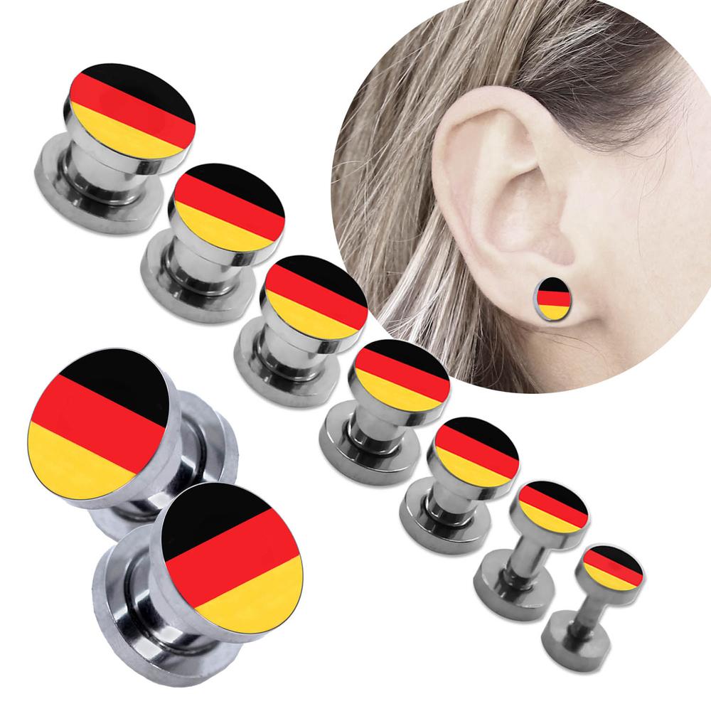 Flesh Tunnel Plug Piercingschmuck Ohr Fanartikel Deutschland Flagge Fussball Wm Em