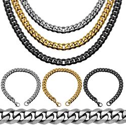 1x Set Panzerketten Königskette Edelstahlkette Halskette Gliederkette Armband Schwarz Golden Silbern