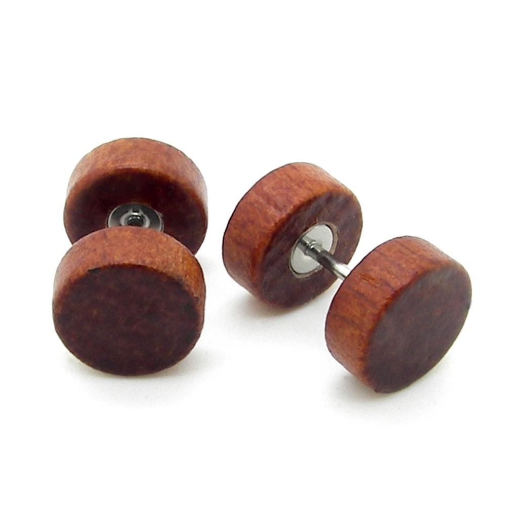 Ohrstecker Ohrringe Holz Ohrschmuck Perle Kugel Stern Braun Beige Natur Button