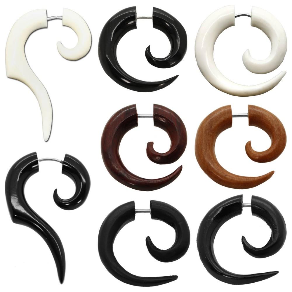 2 fakeplugs fake plug horn knochen holz holzfakeplugs ohrstecker spiralen piercing braun schwarz. Black Bedroom Furniture Sets. Home Design Ideas