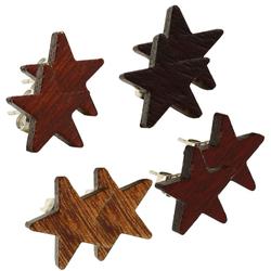 1 Paar Stern Ohrstecker Star Ohrringe Holz Dunkel Hell Braun Rotbraun Schwarz Natur Unisex Edelstahl