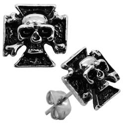 1 Paar Ohrstecker Ohrringe Eisernes Kreuz Totenkopf Skull Schädel Edelstahl Herren Biker Ohrschmuck Silberfarben Schwarz