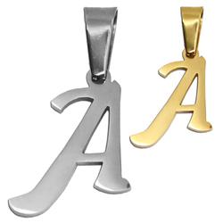 1 Kettenanhänger + Schmuckbeutel Buchstabe Alphabet Anhänger Halskette Name Golden Silbern Edelstahl Damen Charm
