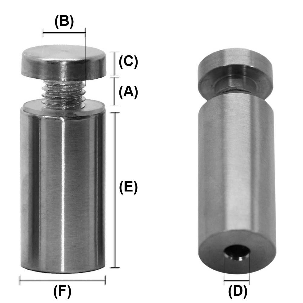 1.6 cm x 5 cm Modell:1 St/ück Abstandshalter Schilderbefestigung Schraubbar Edelstahl Wandabstandshalter Rund Glashalter /Ø1,6cm f/ür Acrylglas Schilder