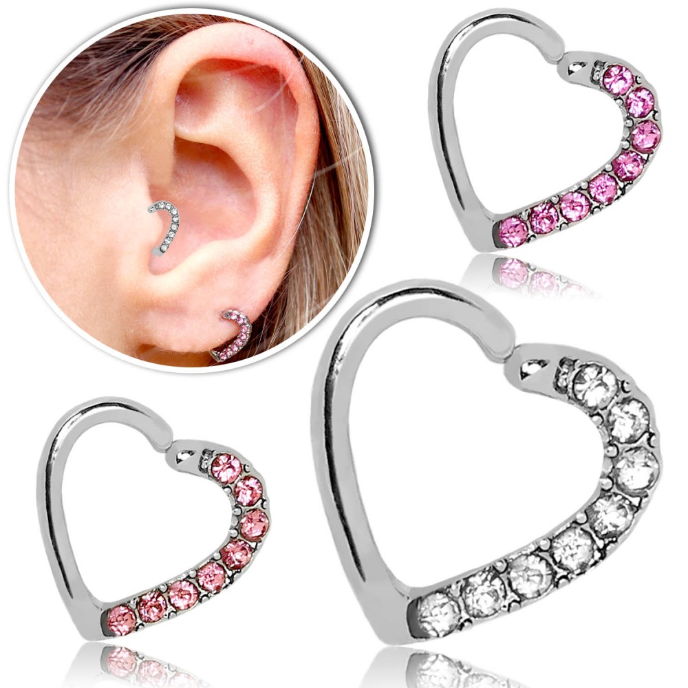 Fake Piercing Tragus Knorpel Helix Ohrring Clip Herz Strass ...