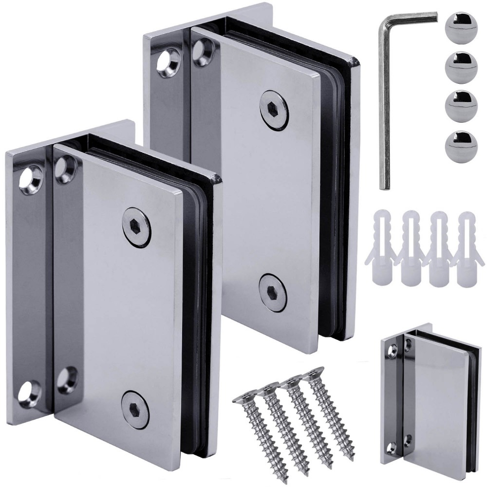90 stainless steel clamp fixed glass door hinge shower cabin glass to wall set ebay for Stainless steel bathroom doors