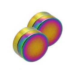 Tumundo 1 Paar Magnet Fakeplugs Rainbow Fake Plug Magnetisch Tunnel Expander Ohr-Clips Ohne Loch 6 -12mm Piercing