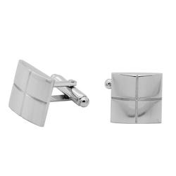 tumundo 1 Paar Edelstahl Manschettenknöpfe Eckig Silbern für Hemd Anzug Cufflinks Hochzeit Herren-Schmuck Ø 18 mm + Etui