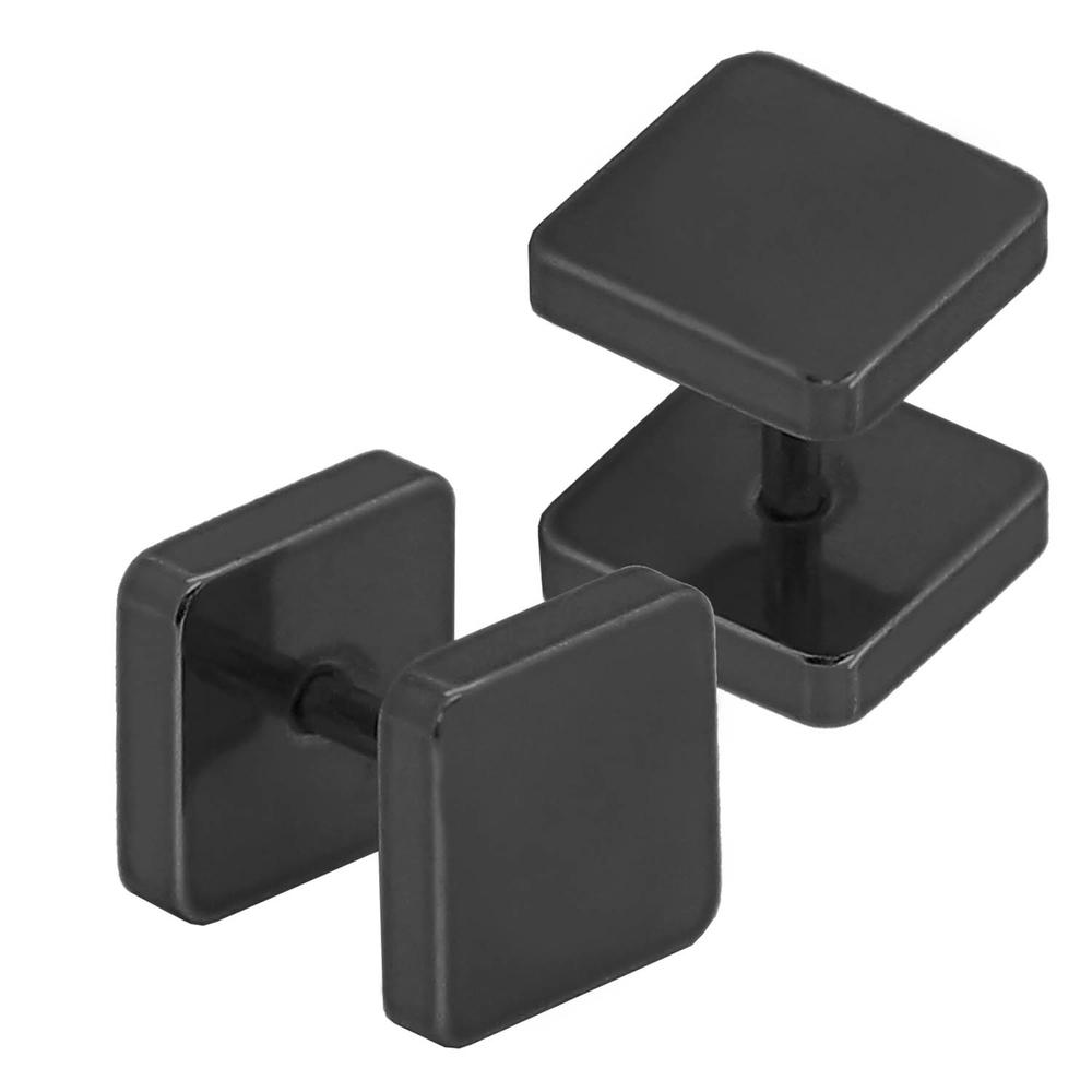 2 edelstahl fakeplugs tunnel piercing ohrringe ohrstecker damen herren quadrat ebay. Black Bedroom Furniture Sets. Home Design Ideas