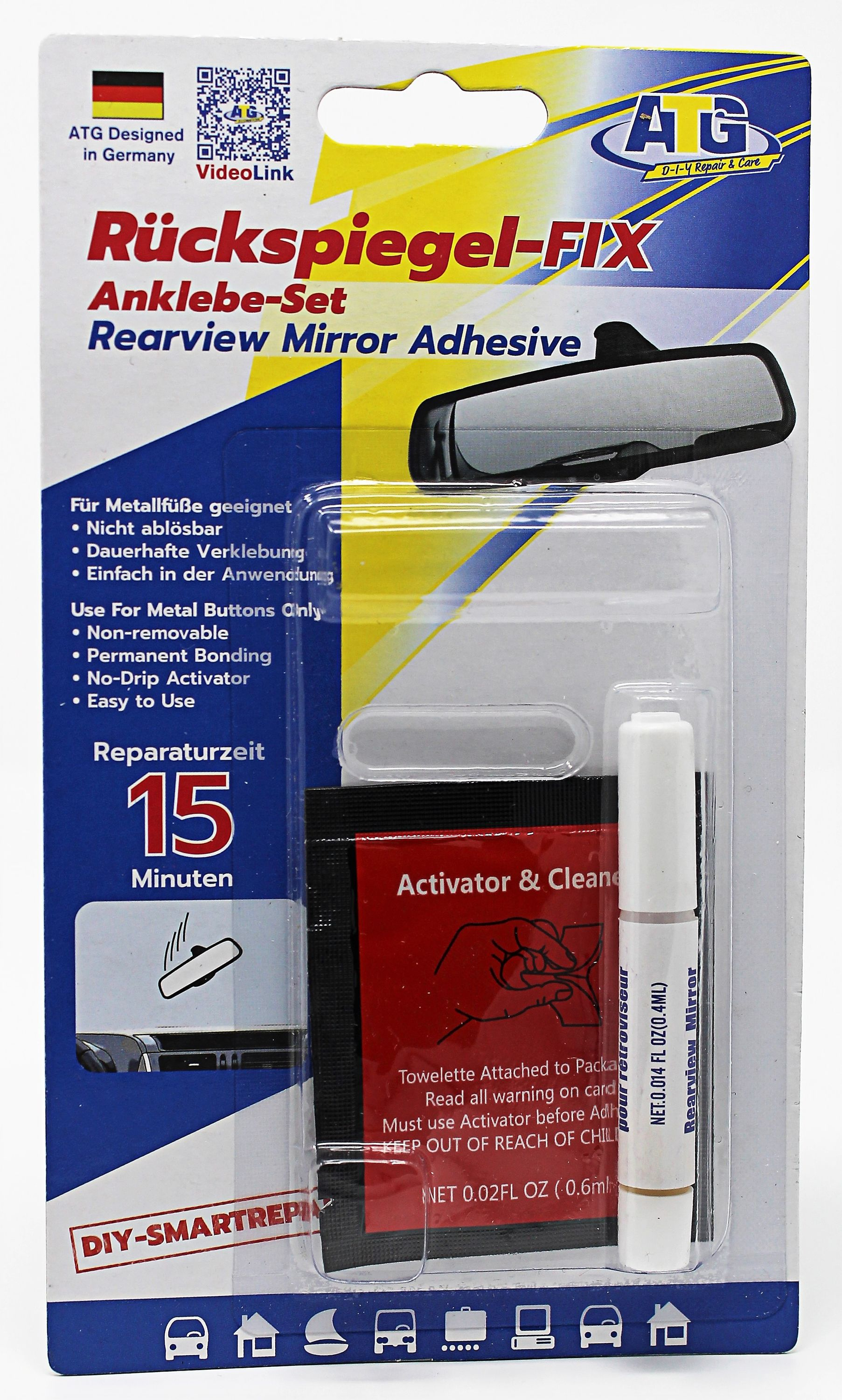 atg rear mirror fix adhesive set for attaching car interior mirror to the windshield incl. Black Bedroom Furniture Sets. Home Design Ideas