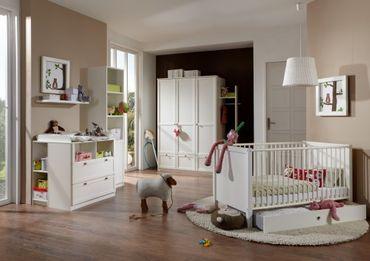 Komplett Babyzimmer Grady II Weiß 3teilig Bett Schrank Wickelkommode