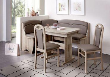 Eckbankgruppe Trient, Leder Optik, Eckbank Ausziehtisch Stühle Tischgruppe Essecke