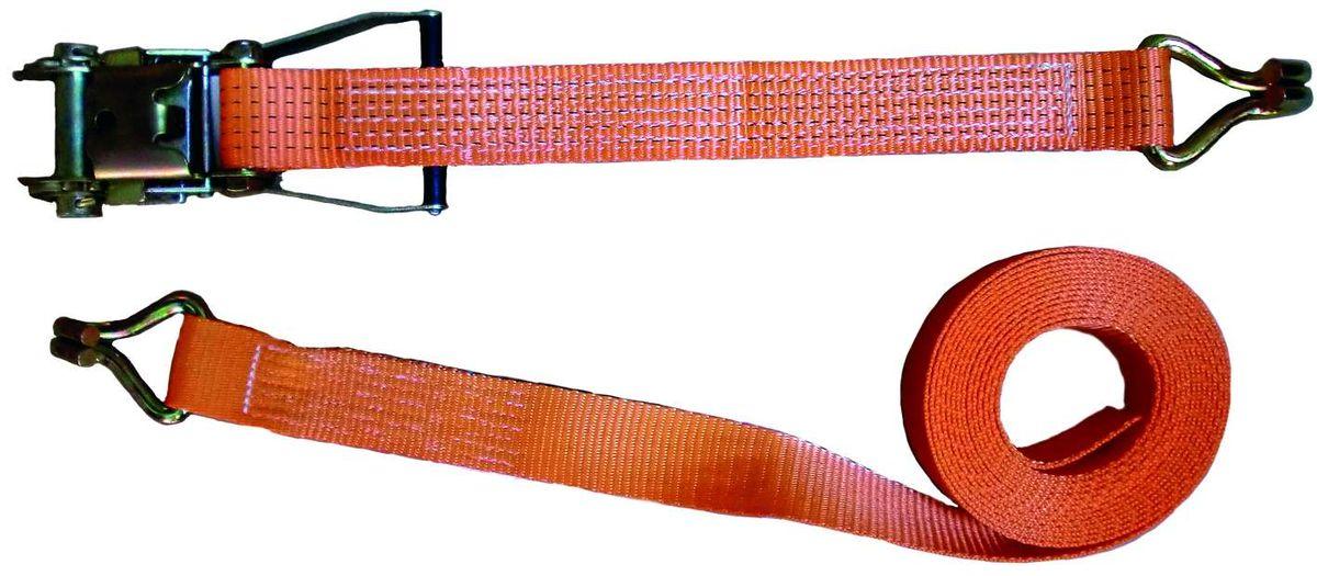 Zurrgurt, 8 Meter, 50 mm, 2tlg., 2500/5000 kg, Spitzhaken und mit Ratsche, 90636, Spanngurt, Packriemen, Rödelband, Zurrband Ladungssicherung, scheuer- und abriebfest, hergestellt nach aktueller Norm EN 12195-2, Farbe orange