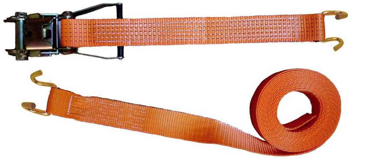 Zurrgurt, 10 Meter, 50 mm, 2tlg., 2500/5000 kg, U-Profilhaken und mit Ratsche, 90634, Spanngurt, Packriemen, Rödelband, Zurrband Ladungssicherung, scheuer- und abriebfest, hergestellt nach aktueller Norm EN 12195-2, Farbe orange