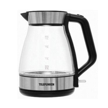 Telefunken TFWK1800G Wasserkocher Glas Edelstahl Schwarz