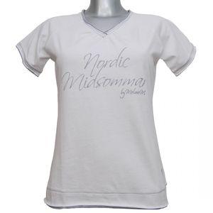 MelanieM Damen T-Shirt kurzarm V-Ausschnitt reine Baumwolle Aufdruck weiss
