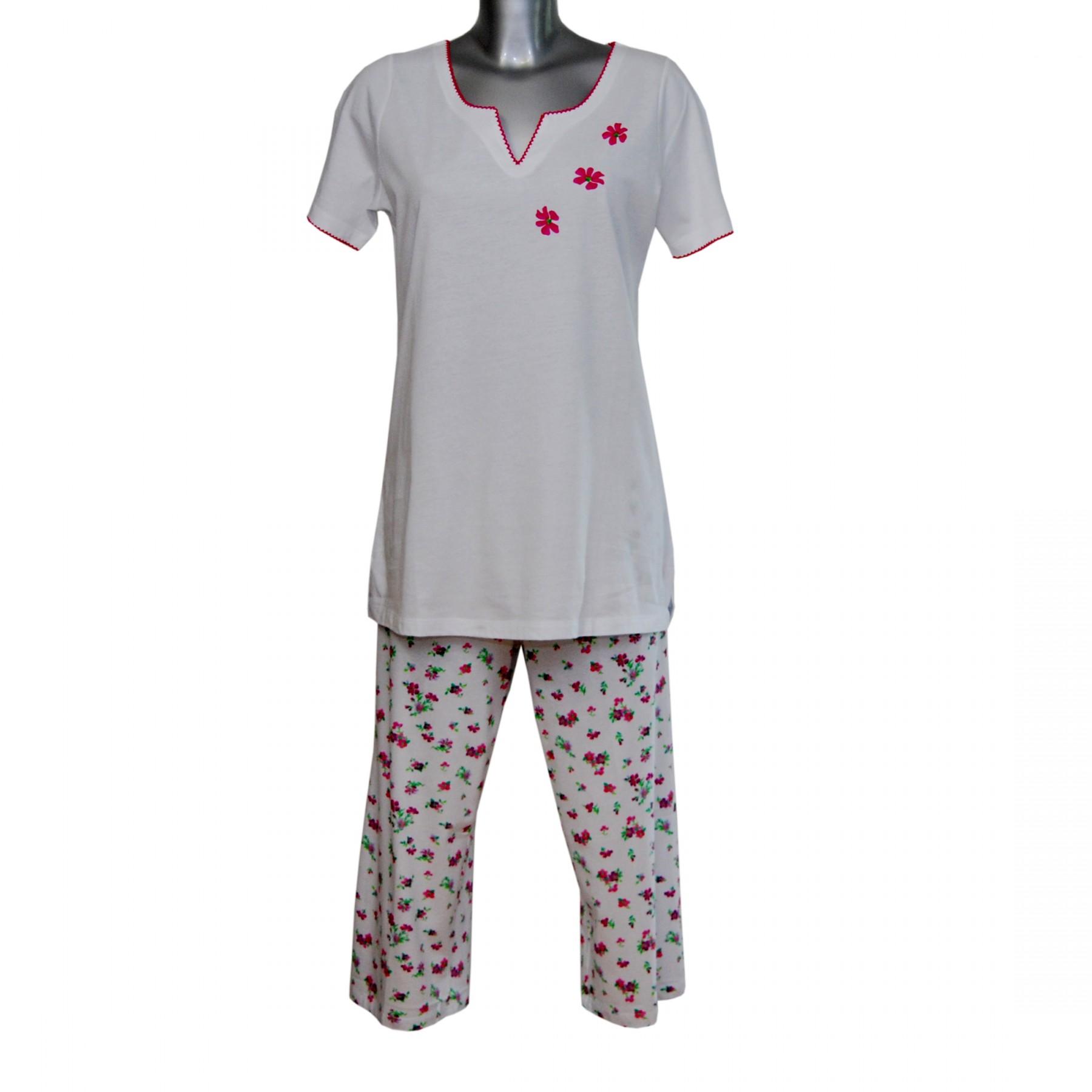 MelanieM Damen Pyjama 3 4 lang kurzarm Caprihose reine Baumwolle ... 5756e88b93