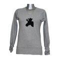 MelanieM Damen Shirt langarm V-Ausschnitt Baumwolle single Jersey grau