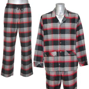 JOCKEY Herren Pyjama lang Schlafanzug Flanell reine Baumwolle International Collection Comfort fit