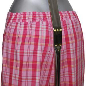 MelanieM Damen Schlafanzug lang Webware Popeline reine Baumwolle durchgehende Knopfleiste pink kariert – Bild 2