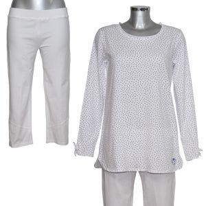 MelanieM Damen Pyjama 3/4 lang Capri-Hose Single Jersey – Bild 1