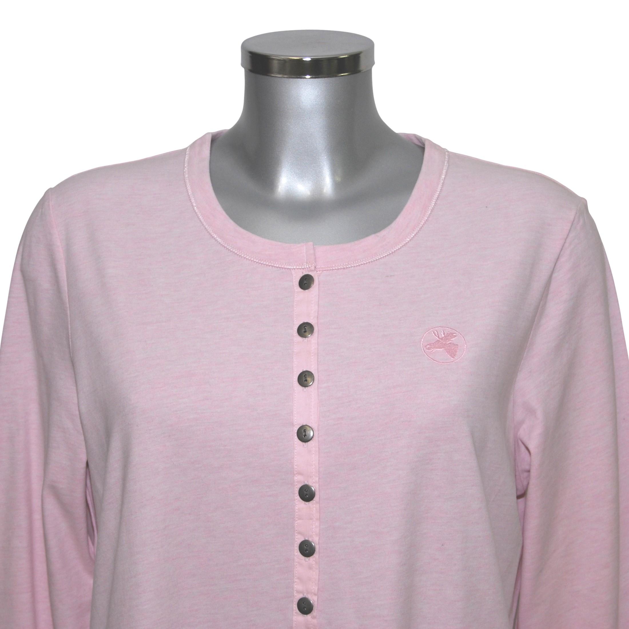 MelanieM Damen Longshirt Schlafhemd Nachthemd lang Knopfleiste Taschen  Jersey gebürstet – Bild 2 e007e57d8d