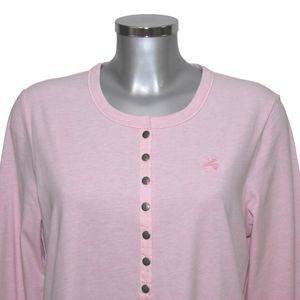MelanieM  Damen Longshirt Schlafhemd Nachthemd lang Knopfleiste Taschen Jersey gebürstet – Bild 2